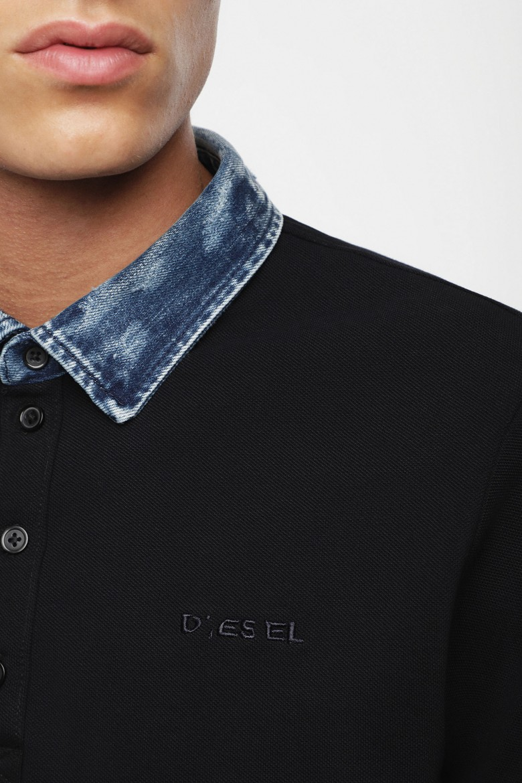 Polo tričko - DIESEL S.P.A.,BREGANZE TMILESBROKEN POLO SHIRT čierne