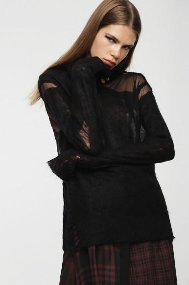 Pletený sveter - DIESEL S.P.A.,BREGANZE MCLASSH PULLOVER čierny