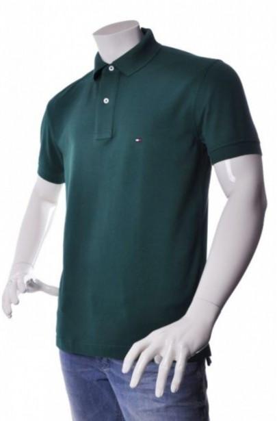 Polo tričko NEW TOMMY KNIT S tmavozelené