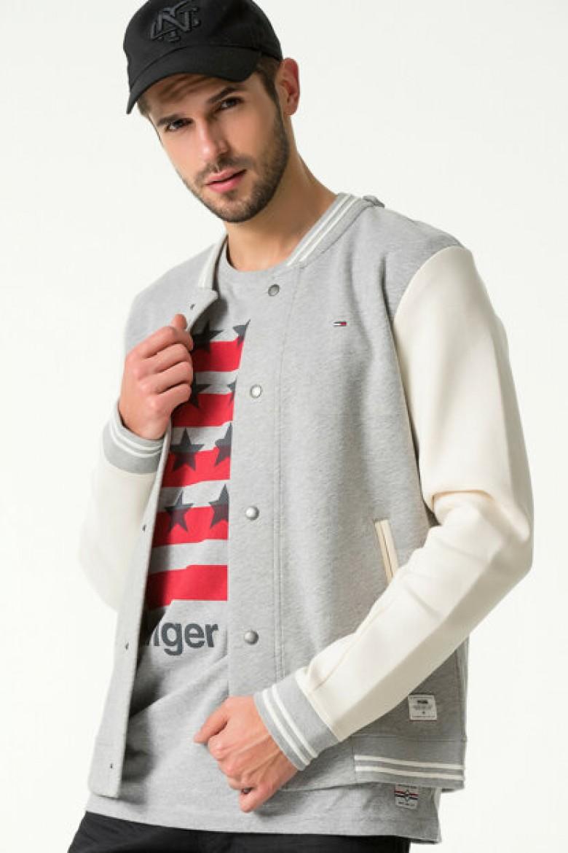 Mikina - Neopreen hknit baseball jacket 22 sivo-biela