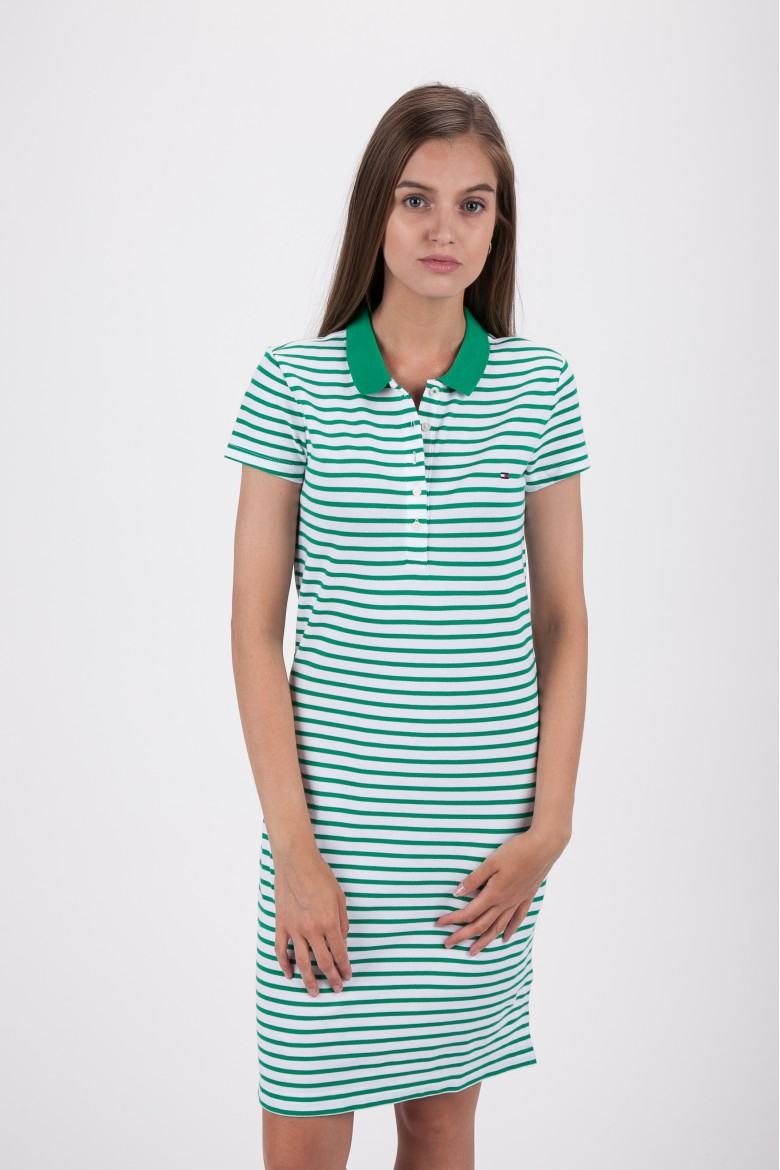 Šaty - TOMMY HILFIGER NEW CHIARA STR PQ POLO DRESS SS bielo-zelené