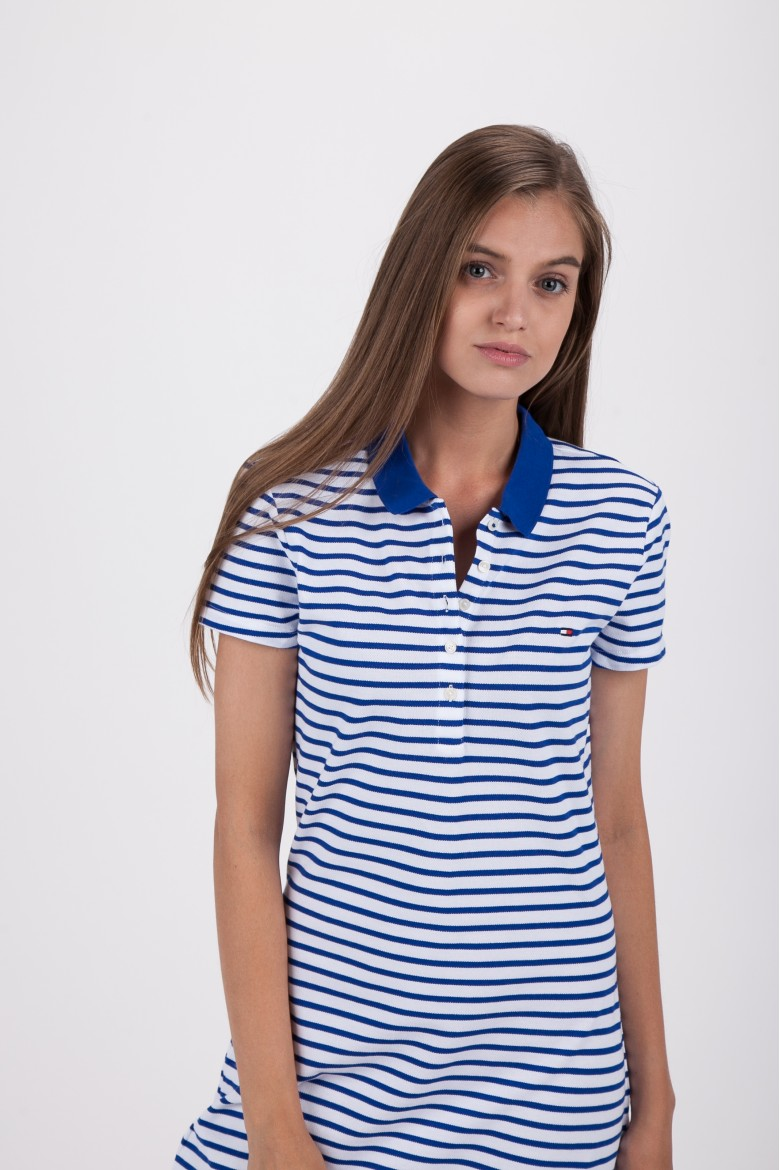 Šaty - TOMMY HILFIGER NEW CHIARA STR PQ POLO DRESS SS bielo-modré