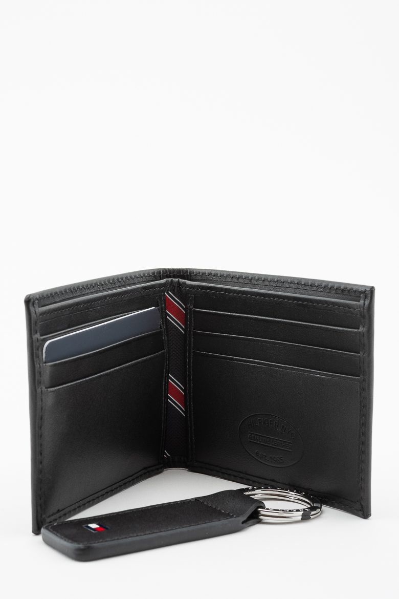 Set - TOMMY HILFIGER HO ETON MINI CC WALLET KEYFOB BOX čierny