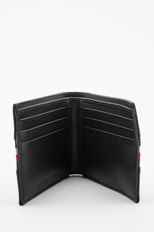 Set - TOMMY HILFIGER STRIPE MINI CC WALLET KEYFOB BOX čierny