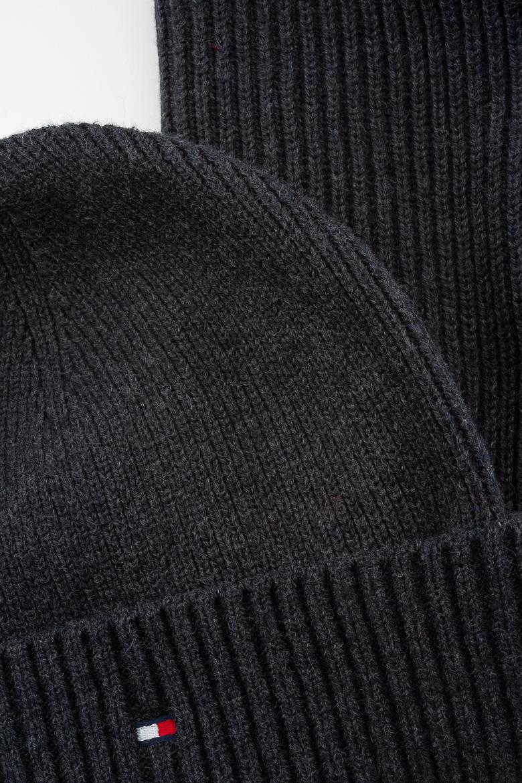 Zimný set - TOMMY HILFIGER PIMA COTTON SCARF & BEANIE GP čierno-šedý