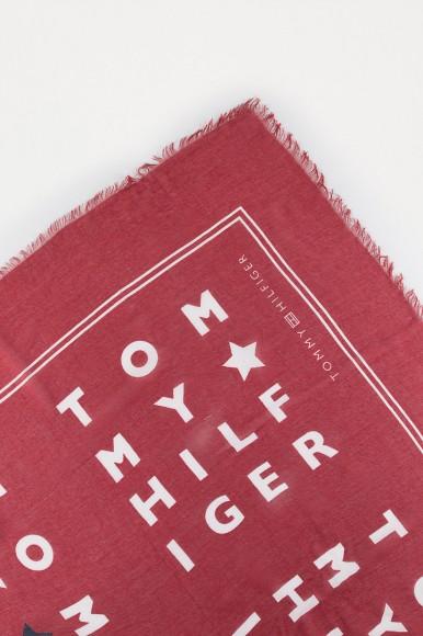 Šatka - TOMMY HILFIGER LOGO STORY SCARF, 61 červená