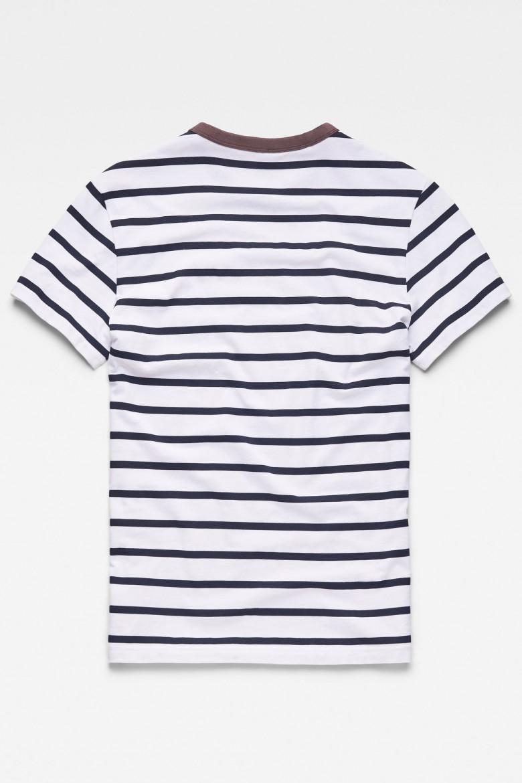 Tričko - G-STAR Mow stripe r t s/s bielo-hnedé