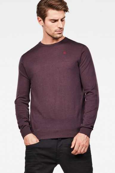 Sveter - G-STAR Core r knit ls bordový