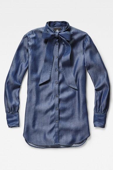 Blúzka - G-STAR Deline bf bow blouse wmn ls šedo-modrá