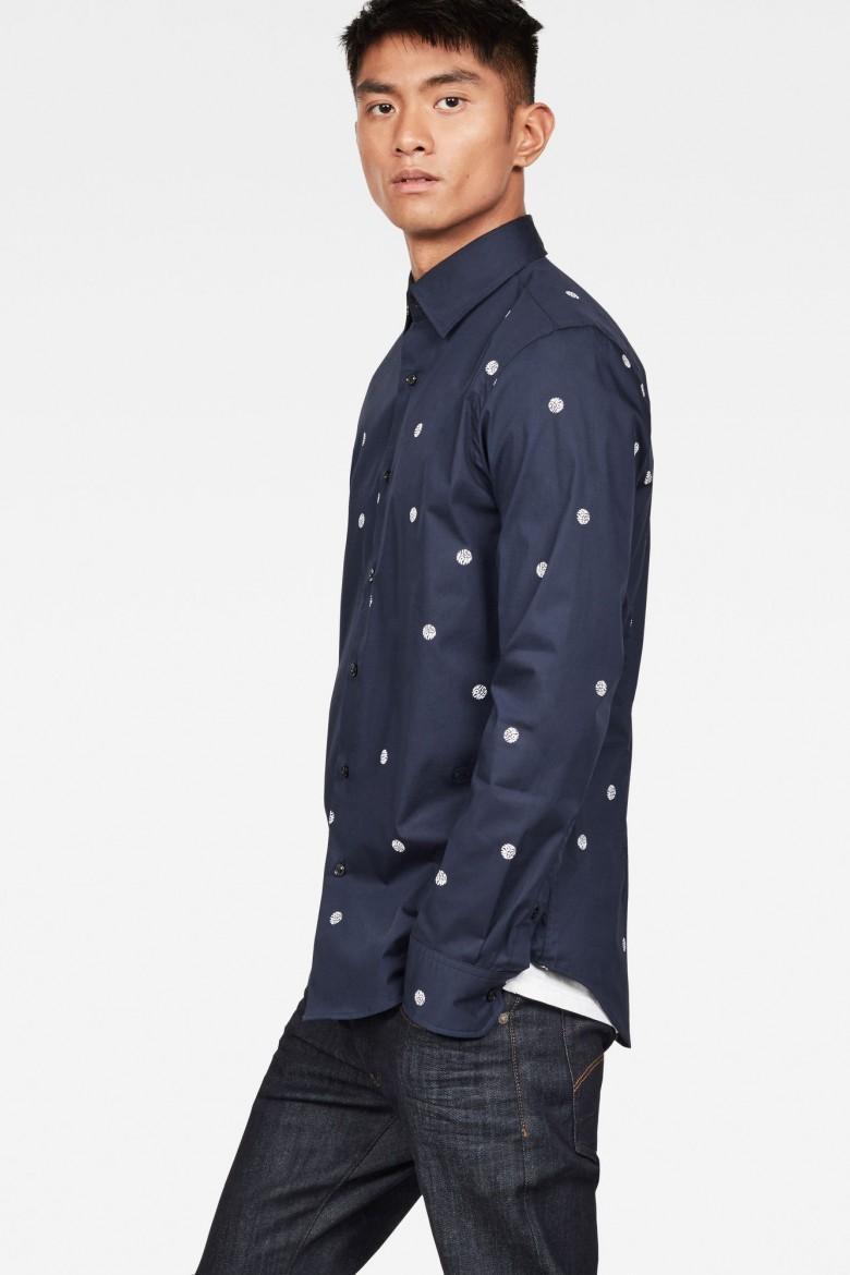 Košeľa - G-STAR Core super slim shirt ls modrá