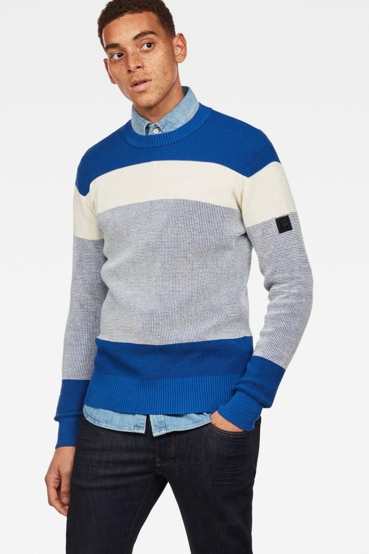 Sveter - G-STAR Block stripe r knit ls bielomodrý