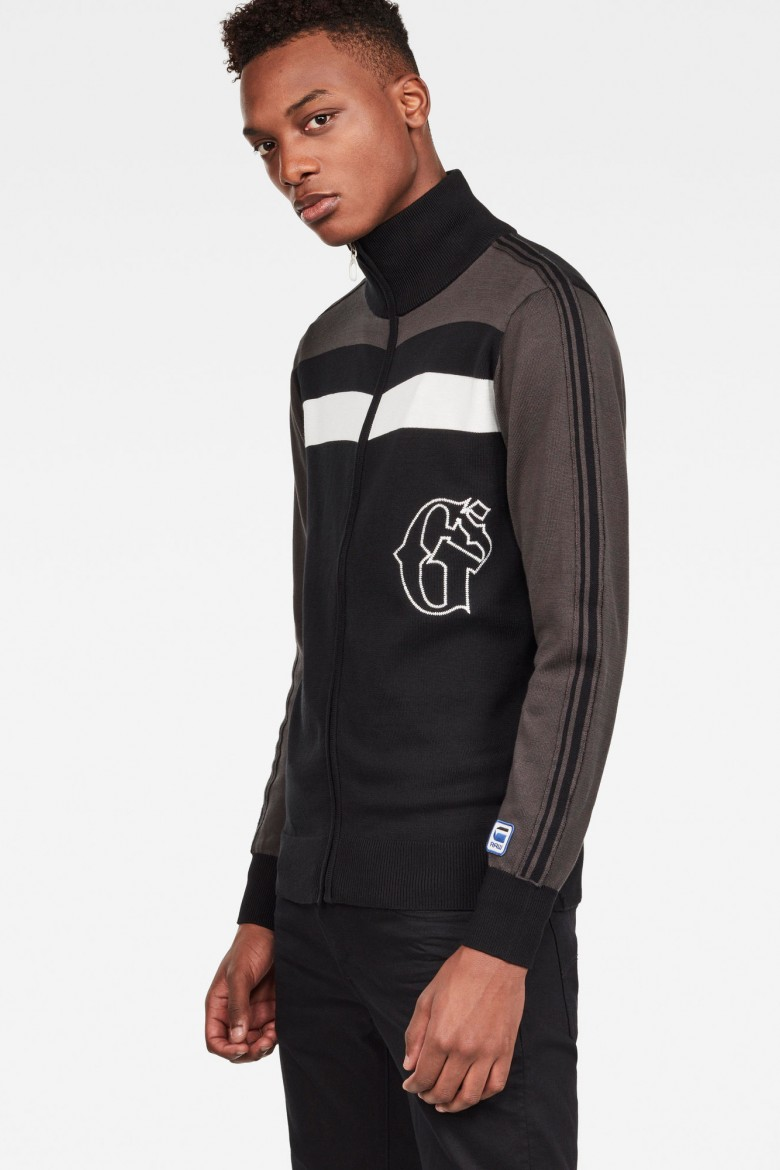 Sveter - G-STAR Track drop zip through knit ls čierno-hnedý