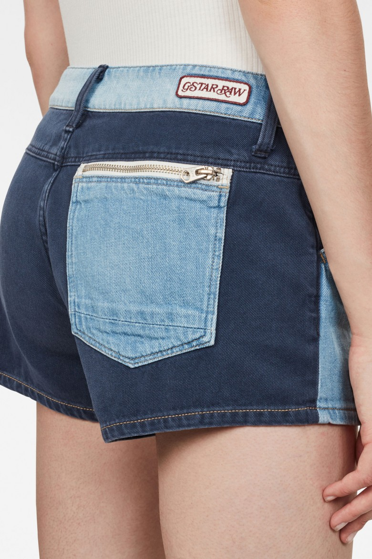 Krátke nohavice - G-STAR Faeroes Zip Mid bf Short Wmn modré