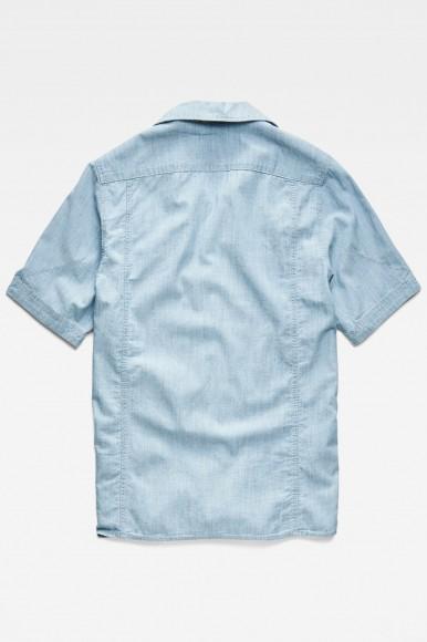 Košeľa - G-STAR Kinec straight service shirt ss - svetlomodrá