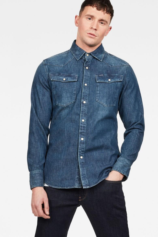 Košeľa - G-STAR 3301 slim shirt ls kobaltovo modrá