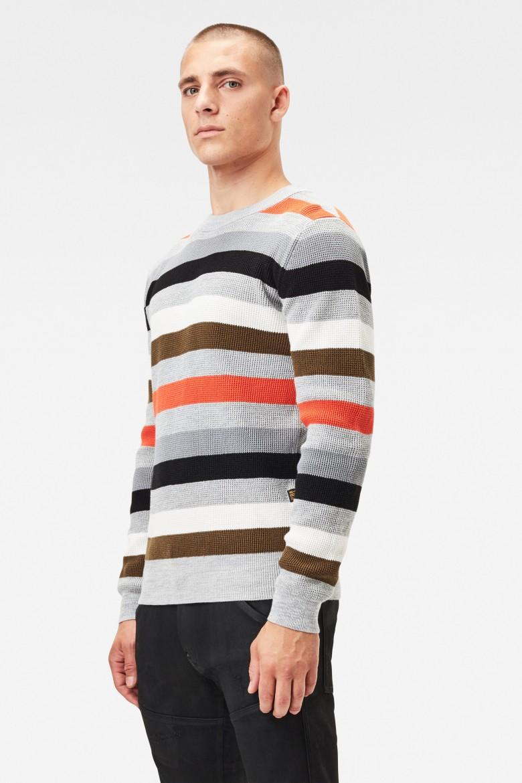 Sveter - Multi stripe r knit l\s sivý