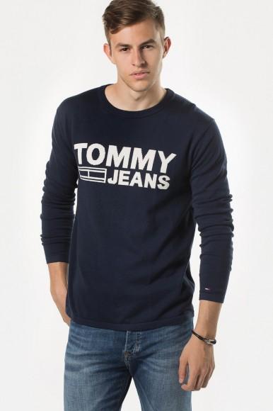 Sveter - TOMMY HILFIGER TJM SOLID LOGO SWEATER modrý