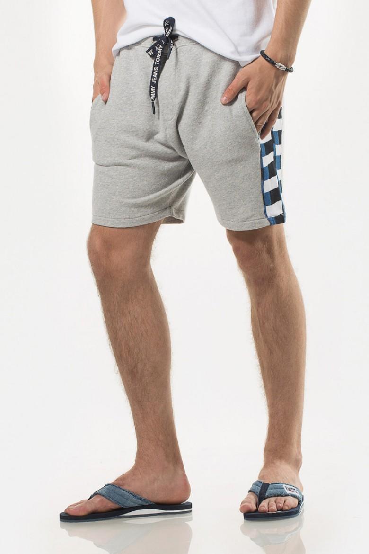 Krátke nohavice - TOMMY HILFIGER TJM CHEQUERED KNIT BEACH SHORT sivé