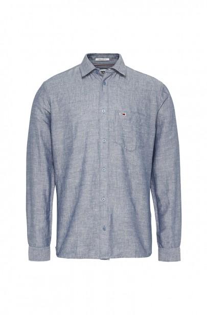 Pánska košeľa TJM LINEN BLEND SHIRT svetlomodrej farby