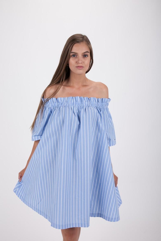 Šaty - TOMMY HILFIGER TJW SUMMER OFF SHOULDER DRESS svetloružové
