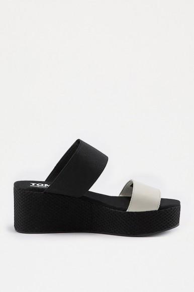 Sandále - TOMMY HILFIGER MATERIAL MIX FLATFORM SANDAL čierne