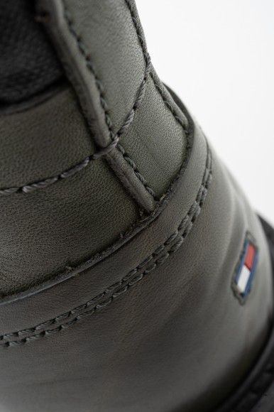Členkové topánky - TOMMY HILFIGER WINTER LEATHER TEXTILE MIX BOOT olivovo-šedé