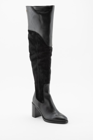 Čižmy - TOMMY HILFIGER MATERIAL MIX HEELED BOOT čierne