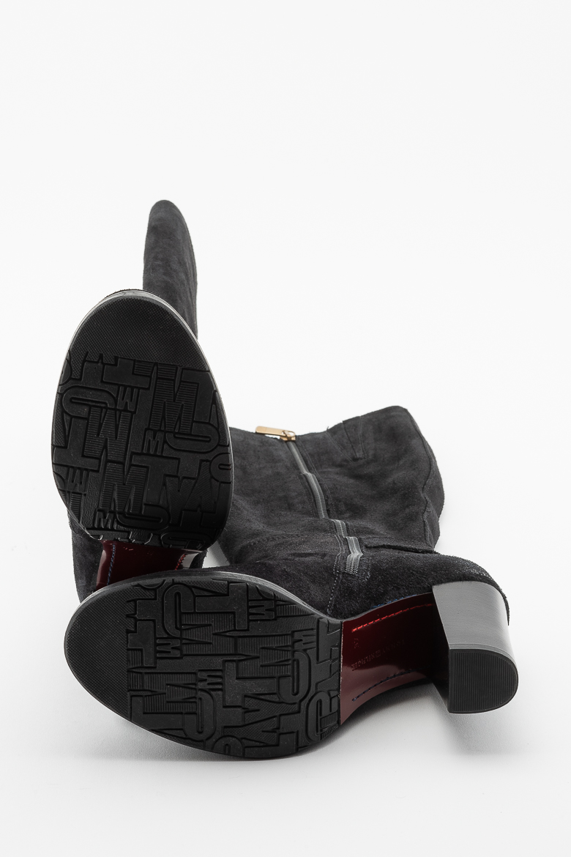 Čižmy - TOMMY HILFIGER TH BUCKLE HEELED LONG BOOT SUEDE čierne