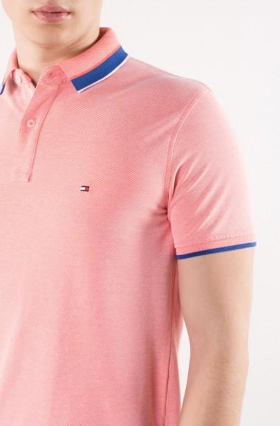 ... Polo tričko - TOMMY HILFIGER OXFORD TIPPED SLIM POLO ružové 3af3e422986
