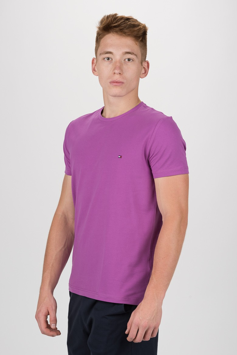 Tričko - TOMMY HILFIGER STRETCH SLIM FIT TEE fialové