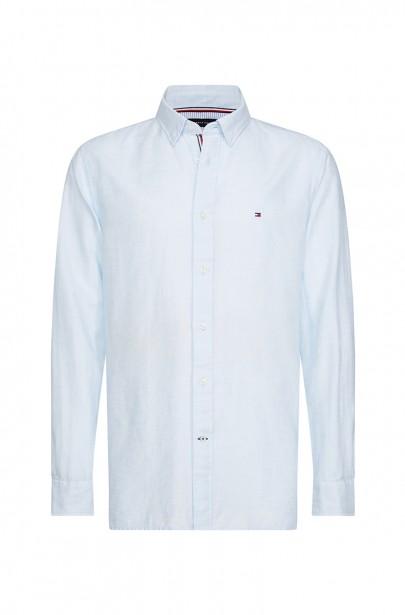 Pánska košeľa COTTON LINEN TWILL SHIRT modrej farby