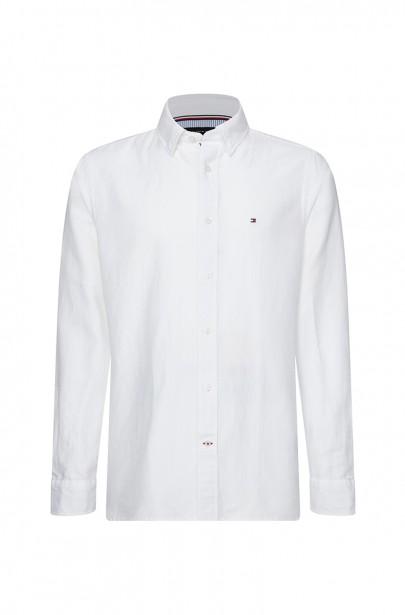 Pánska košeľa COTTON LINEN TWILL SHIRT bielej farby