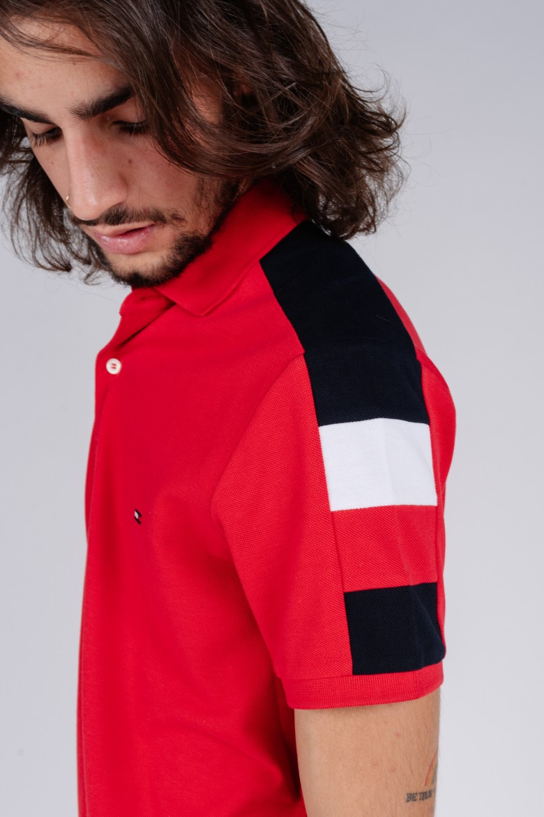 Polo tričko - GS SLEEVE COLOR BLOCK SLIM POLO červené