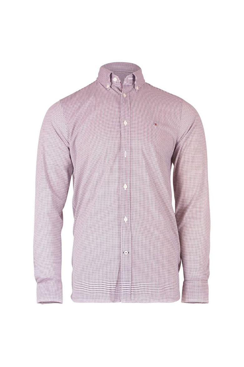 Košeľa - SLIM FLEX WEAVE SHIRT bordová