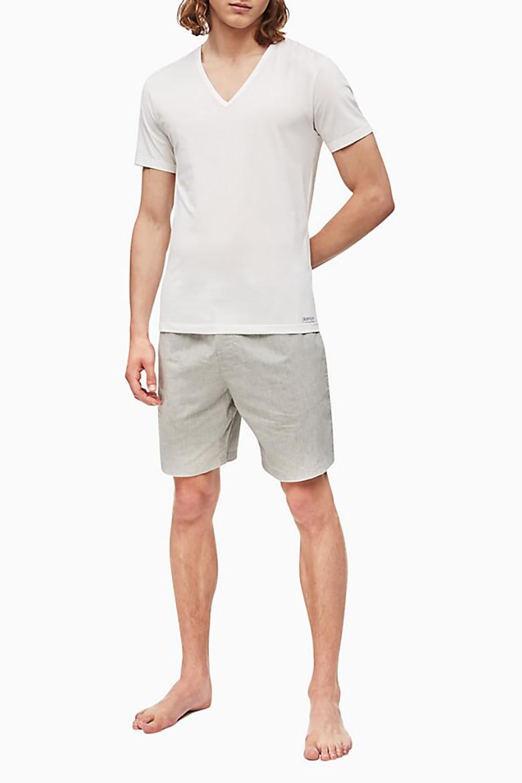 Tričko - CALVIN KLEIN S/S V NECK biele