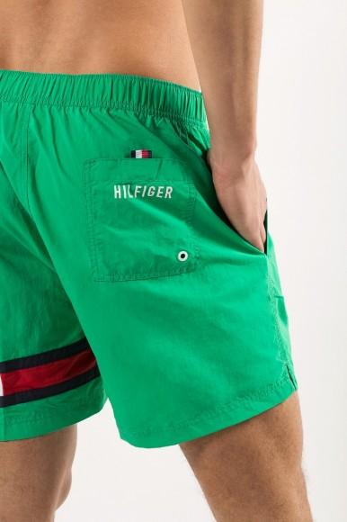 Plavky - TOMMY HILFIGER SHORT DRAWSTRING zelené
