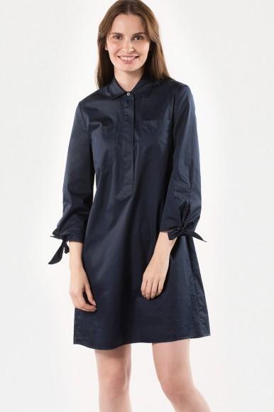 Šaty - TOMMY HILFIGER HAGAR DRESS 3/4 SLV tmavomodré