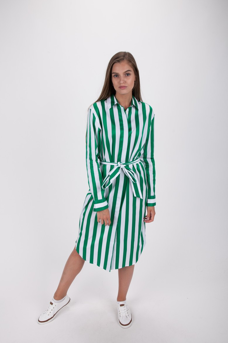 Šaty - TOMMY HILFIGER TH ESSENTIAL MIDI SHIRT DRESS LS zeleno-biele