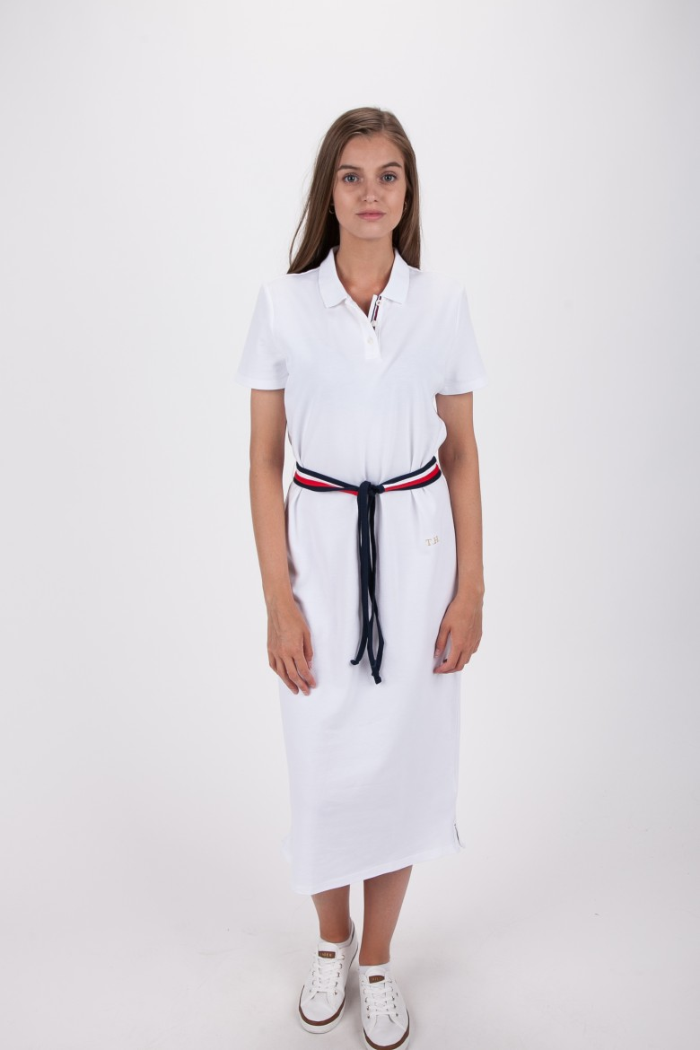 Šaty - TOMMY HILFIGER TH ESSENTIAL POLO DRESS SS biele
