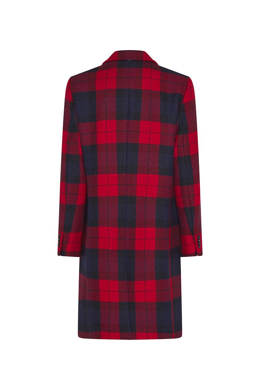 Kabát - WOOL BLEND CHECK CLASSIC červeno-modrý