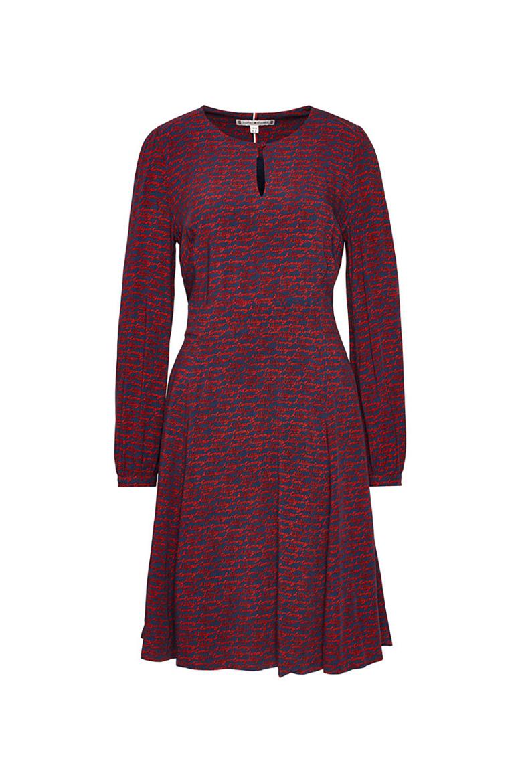 Šaty - ALYA FIT&FLARE KNEE DRESS LS modro-červené