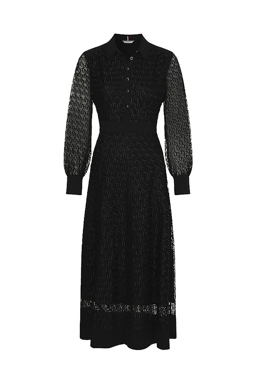 Šaty - MESH EMB F&F MAXI DRESS LS čierne