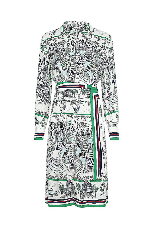Šaty - SILK PRT KNEE SHIRT DRESS LS bielo-zelené